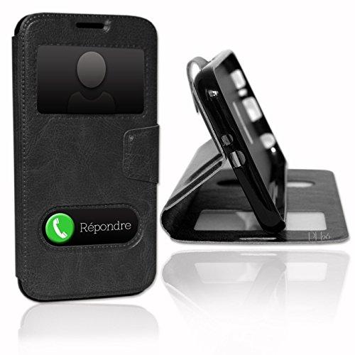 Smartcoque® Schutzhülle für Wiko Robby mit Doppelfenster, Schwarz