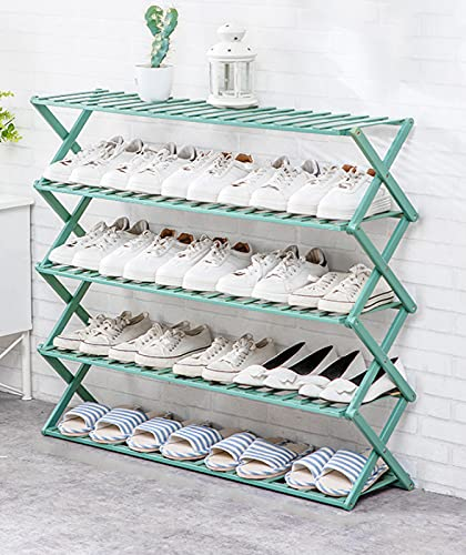 LTLJX Estante de Zapatos de 5 Niveles Estantes de Zapatos de Bambú Plegables Organizador de Almacenamiento de Soporte Adecuado para Pasillo,Sala de Estar,Blue-50F-100cm