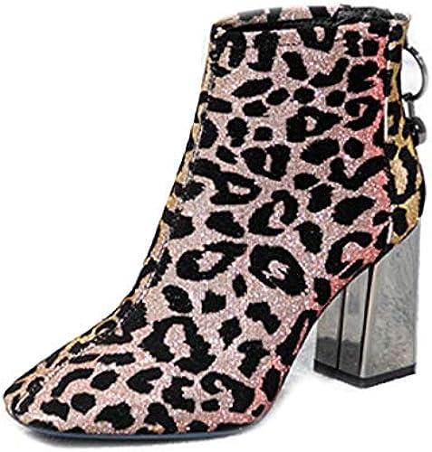 PLNXDM Damen Chelsea-Stiefel Stiefel In In In Wildleder-Optik Mit Reißverschluss Leopardenmuster Mode Stiefel  Blitzlieferung