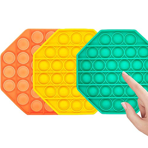 Push Pop Bubble Fidget Silicone Sensory Toy,Squeeze Sensory Toy for Kid and Adult,Tress Reliever Octagonal Shaped Toy (Green+Orange+Yellow)