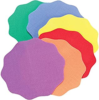 """Really Good Stuff Carpet Mark-Its – Colorful 5"""" x 5"""" Carpet Spots – Keep Students Organized or in Groups – Six Bright Rainbow Colors – Durable with No-Slide Back, Sticks to Most Carpets, Set of 24"""