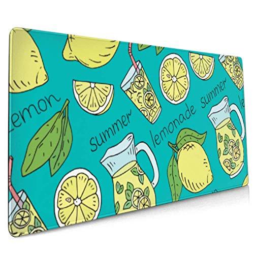 Langes Mousepad (35,5 x 15,8 Zoll) Sommerfrische Limonade Saftige Zitronen Schreibtisch-Pad Tastaturmatte, rutschfeste Basis, wasserdicht, für Arbeit & Spiele, Büro & HOM