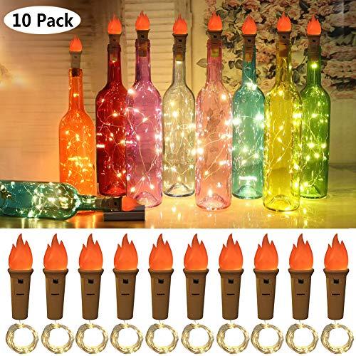 Lukasa Luci per Bottiglie 10 Pezzi Luce bottiglia Bianco caldo Luci a catena a LED Luci a corda romantiche per la decorazione della bottiglia DIY Festa Matrimonio Halloween Idea regalo e Natale