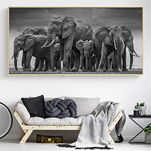 DIY 5D Large Diamond Painting Elefante Kits de Perforación Completos Rhinestone Picture Art Craft para decoración de la Pared del hogar 50x150cm Round Drill