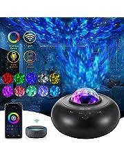 OUTAD Projektor LED z gwiazdą świetlną, obracające się lampki nocne z falą oceanu, lampa projektorowa mgławicy, z Bluetooth/pilotem czasowym, dla dzieci dorosłych pokój dekoracja domu (czarny)