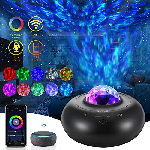WiFi Led Sternenhimmel Projektor Lampe, Smart Galaxy Light mit Rotierende Wasserwellen Fernbedienung Bluetooth Lautsprecher und Timer Kompatibel mit Alexa/Google Assistant für Kinder Erwachsene