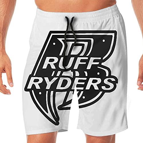 Yuanmeiju Pantalones Cortos para Hombre con Logo de Ruff Ryders, bañadores de Playa de Secado rápido con gráficos, Bolsillos