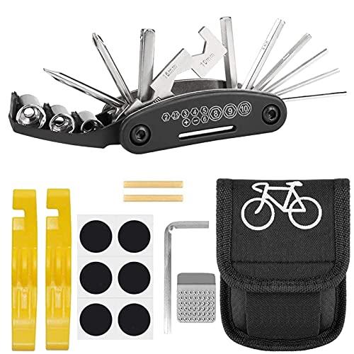 Atuful Juego de herramientas 16 en 1 para bicicleta con bolsa para sillín y kit de reparación para bicicleta de montaña