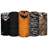 S A - UV Face Shield 5 Pack - Multipurpose Neck Gaiter, Balaclava, Elastic Face Mask for Men and Women (Horror)