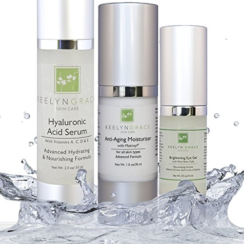 Best Anti Aging Skin Care System- 3 Pack Kit - Spa Moisturizer with Matrixyl | Eye Gel Cream with Plant Stem Cell | Hyaluronic Acid Serum
