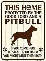 Smart Blonde ビンテージ風 英語版 おしゃれな 猛犬注意の看板 プレート 犬がいます 屋外OK 錆びないアルミ製 (ミニ (11.5x15cm), ピットブル)