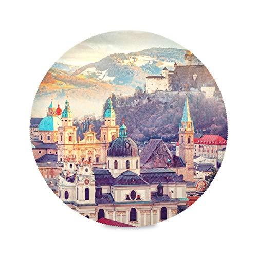 Lot de 4 tapis de table ronds de couleur Salzbourg Autriche Europe Ville Alpes Mozart Napperons à manger Napperon portable 15,4 pouces facile à nettoyer pour la cuisine Table à manger Fête des fêtes
