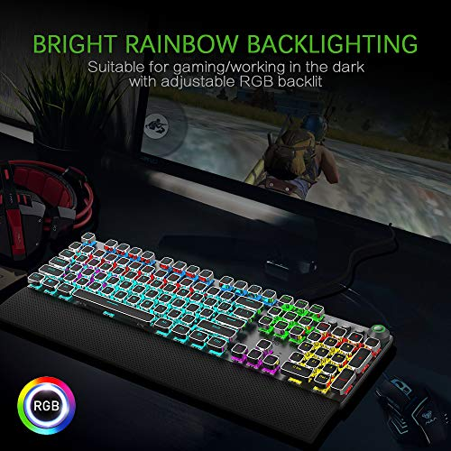 Product Image 1: FIODIO Mechanical Gaming Keyboard, LED Rainbow Gaming Backlit, 104 Anti-ghosting Keys, Quick-Response Black Switches, Multimedia Control for PC and Desktop Computer, with Removable Hand Rest