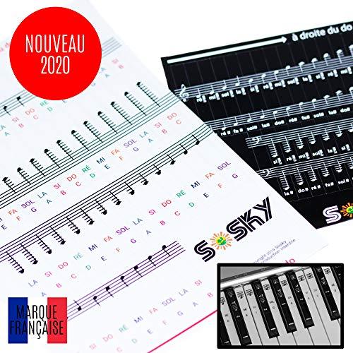 SOSKY Notes Piano Autocollant [NOUVEAU 2020] Notation FR et USA - Stickers Pour Clavier 49 à 88 touches - Repositionnable