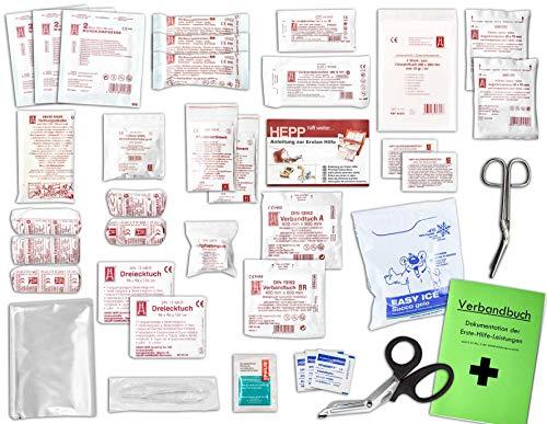 Komplett-Set Erste-Hilfe DIN 13157 EN 13 157 für Betriebe mit Verbandbuch incl. Alkoholtupfer + Pinzette