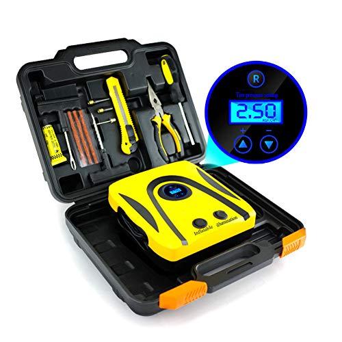 Écran numérique intelligent de poche avec des lumières voiture sans fil gonflable 12V portable pneu pompe pompage charge compresseur d'air 3 buse d'air haute et voiture Adaptateur,Digitaldisplay1