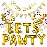 Let's Pawty Ensemble de décoration d'anniversaire pour chien et animal de compagnie avec ballons Let's Pawty