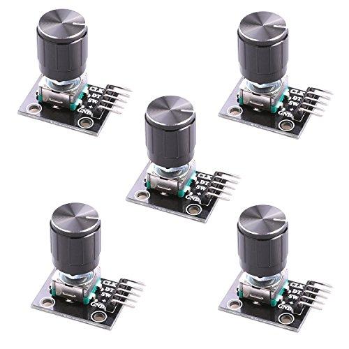 Hikig 5 Stück KY-040 Drehwinkelgeber Drehgeber Rotary Encoder Modul mit 15 x 16,5 mm mit Knauf Cap für Arduino (5er Pack) HKT1062
