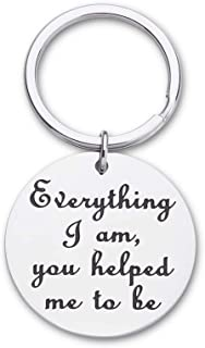 Fathers Day Birthday Gifts for Dad Mom Keychain Everything I Am You Helped Me to Be Thank You Gifts for Father Teachers Co...