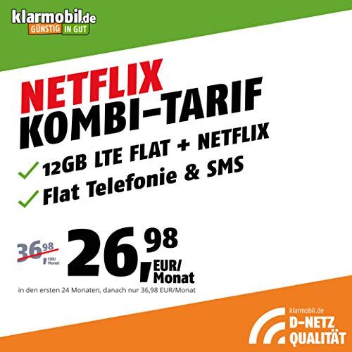 Handyvertrag D-Netz Allnet Flat 12 GB - Internet Flat, Allnet Flat Telefonie & SMS in alle Deutschen Netze, EU-Roaming, 24 Monate Laufzeit