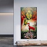 ganlanshu Pintura sin Marco Estatua de Buda Lienzo Flores Brillantes Flores Arte de la Pared Budista Carteles e Impresiones Decoración de la Sala de estarZGQ5310 40X70cm