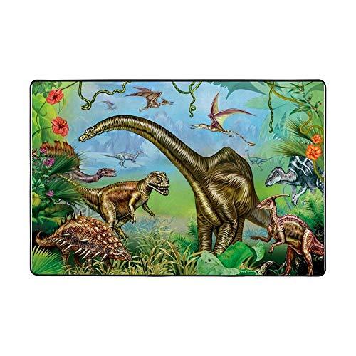 Redecor Kinder-Teppich Für Kinderzimmer, Spiel-Teppich, Die Welt Der Dinosaurier, Grün, Grösse:152x100 cm