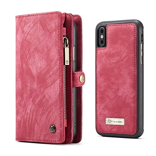 Apple iPhone 8 Plus Case Hülle Geldbörse mit Kredit Kartenfächer [Geldscheinfach mit Reißverschluss] Premium mit abnehmbaren Magnet Handy Schutzhülle,
