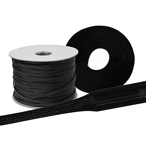 5 Meter Gewebeschlauch Ø 8mm | schwarz, dehnbar, flexibel und robust | Geflechtschlauch Kabelschutz Kabelschlauch Schutzschlauch Lautsprecherkabel