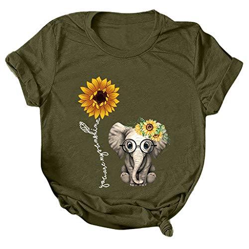 Xmiral T-Shirt Camicetta Top Donna Stampa Casual Girasole Maniche Corte O-Collo Largo (M,3Army Green)