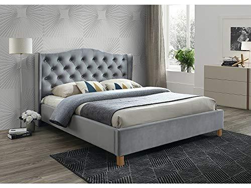 Sellon24/Signal Polsterbett Doppelbett Ehebett Grau Samt Bezug Gesteppt Glamour 160x200 Schlafzimmer Bett luxuriös Aspen Velvet Grau