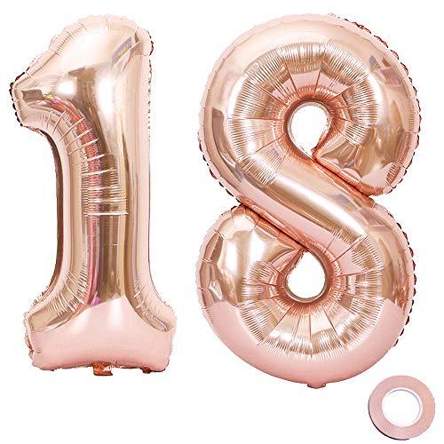 Jurxy Luftballon Zahl 18 Rosegold Geburtstag Folienballon Helium Folie Pinke Luftballons für Geburtstag Jubiläum 40 Zoll - Riesenzahlen #18