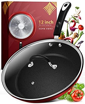 Frying Pan with Lid - 12 Inch Frying Pans Nonstick Skillet Pan Nonstick Frying Pan Skillets Nonstick with Lids Non Stick Pan Cooking Pan Fry Pan Nonstick Pan with Lid Skillet with Lid Pan Red