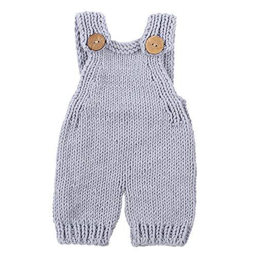 Neugeborenes Baby Fotografie Stricken Latzhose Säuglingsfotografie Latzhose Stricken Einteilige Outfits Baby Neutral Onesies(Grau)