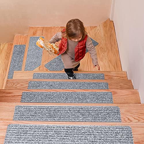 DanceWhale Juego de 15 Alfombrillas para Escaleras (20 x 76 cm), Antideslizantes Autoadhesivo Tapetes de Seguridad para Interiores para Niños, Mayores y Mascotas, Gris Claro