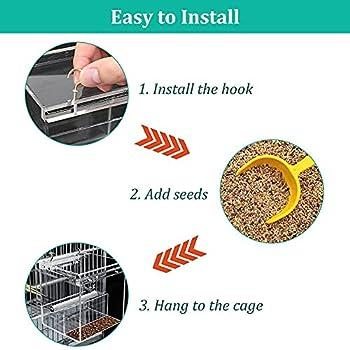 Mangeoire à oiseaux automatique pour perroquet, pas de désordre, mangeoire anti-déversement, mangeoire à oiseaux à fixer à la cage à oiseaux avec barre d'atterrissage pour petits oiseaux, perruches