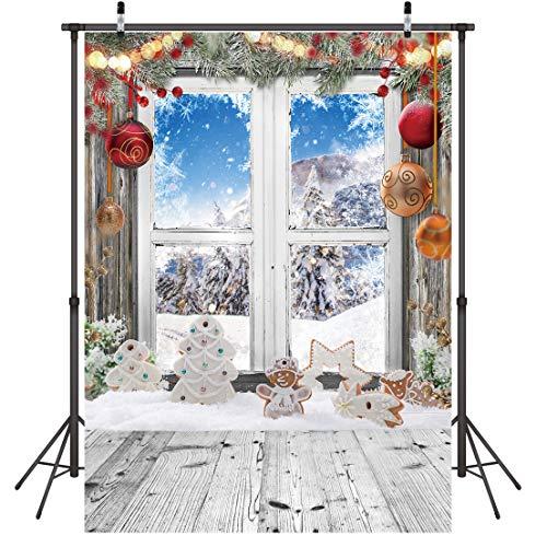 LYWYGG 5x7FT Fondo de Navidad Fondo de Nieve Fondo de Fotografía de Pared y Piso de Madera Fondos de Navidad Decoración del Hogar Papel Tapiz de Navidad Fondo de Fotografía de Familia Infantil CP-298