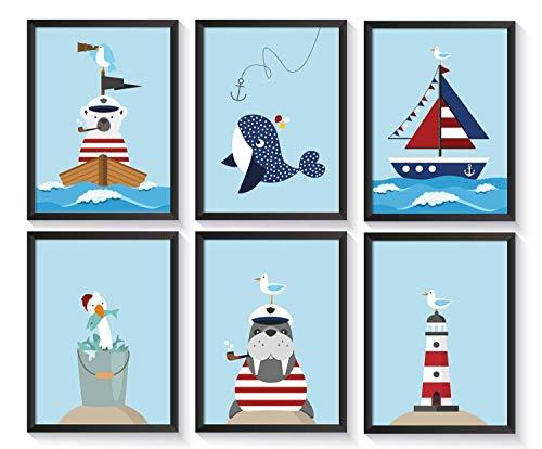 Bilder maritim Kinderzimmer   Kinderposter Wal   6 Kunstdrucke   A4 Kinderbilder   Poster Set   ohne Bilderrahmen