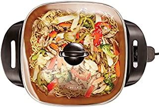 BELLA Electric Ceramic Titanium Skillet, Roast, Fry and Steam, Healthy-Eco Non-stick Coating, Convenient Easy Clean Up, Glass Lid Included, 12