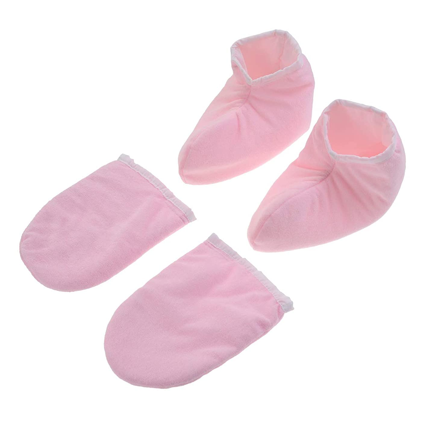 Lurrose 2ペアパラフィンワックス手袋ハンドフィートトリートメントミットビューティーハンドミットセラピースパミトン女性のための美容(ピンク)