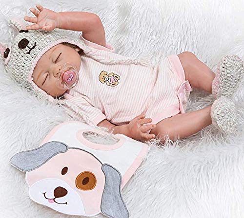NPK Reborn Baby Dolls Girl 20' Sleeping Realistic Full Body Silicone Vinyl Lifelike Washable Handmade Anatomically Correct Gift Set for Ages 3+