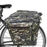 ASANMU Bolsa Trasera para Bicicleta, Alforja Maletero Impermeable Bolsa Bicicleta Multifuncional 2 Compartimentos Bcicleta Pannier mit Cinta Reflectante para Bicicleta de Montaña (Verde Camuflaje)