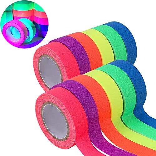 Koogel 12 Stück Fluorescent Tape, 6 Farben Neon Klebeband UV Fluoreszierendes Klebeband Neon Schwarzlicht Gewebeband Tape