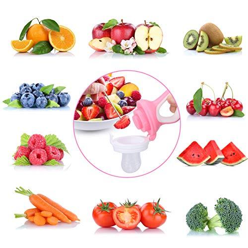 DIAOCARE Fruchtsauger,Silikon Sauger in 3 Größen und Schnullerband,BPA-frei,Schnuller Beißringe für Obst Gemüse Brei Beikost,Fruchtsauger für Baby & Kleinkind (Pink) - 6