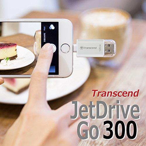 『Transcend iPhone対応 USBメモリ(iPhone iPad iPod/Win Mac PC兼用:Apple MFi認証取得)128GB シルバー iPhone X対応 2年保証 TS128GJDG300S』の1枚目の画像