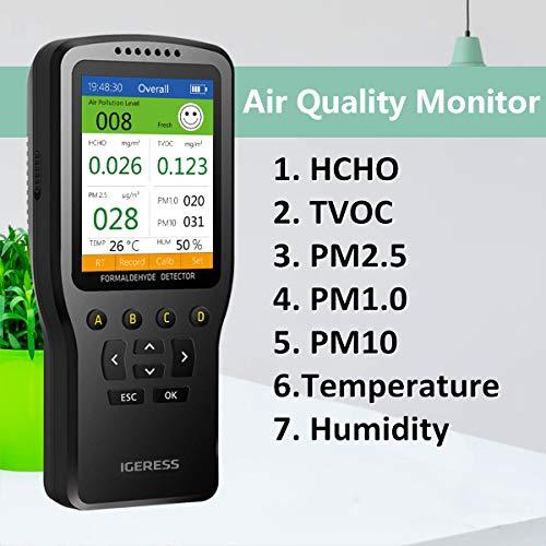 Moniteur de qualité de l'air IGERESS détecteur de pollution de l'air intérieur pour formaldéhyde, VOC, PM2.5, PM1.0, PM10, température, d'humidité, testeur d'air en temps réel avec écran LCD coloré
