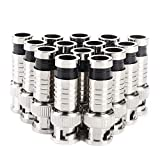 BNC Compression Connector,RG59 Crimper Video Plug Extension Coaxial Siamese Cable Connectors Coax Crimper Adapter 20PCS 75 Ohm Coupler with Copper Pin for CCTV Home Security Camera Antena System