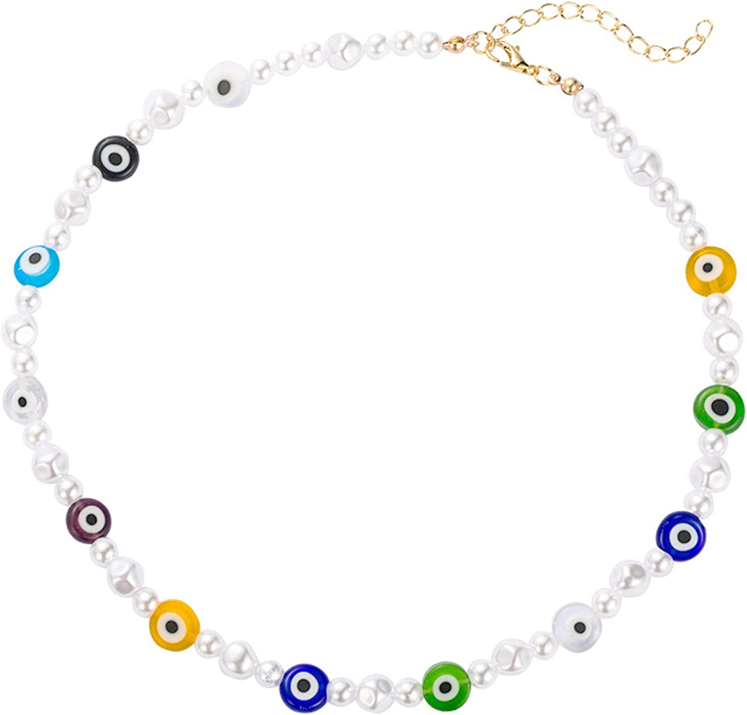 COLORFUL BLING Evil Eye Pearl Beaded Choker Necklace, Bohemian Evil Eye Glaze Beads Pearls Strand Necklace for Women Girls Y2k Style Summer Beach Vacation Amulet Jewelry