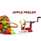 A manovella di frutta pelatrice multi-funzione peeling e rimozione del nucleo e taglio fetta patata e carota affettatrice strumento cucina 3-in-1 in acciaio inox multi-colore 300 × 100 × 130mm,Rosso