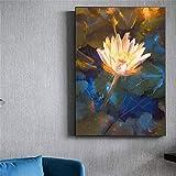 Cuadro de arte de pared Flor de loto Impresiones en lienzo Carteles e impresiones nórdicos Arte de pared Pintura en lienzo Cuadros de pared para la decoración de la sala de estar 40x60cm Con marco