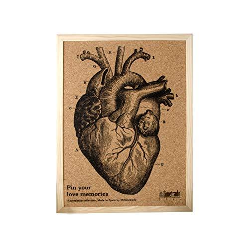Milimetrado Grande Tablero de corcho con corazón anatómico 70x50cm